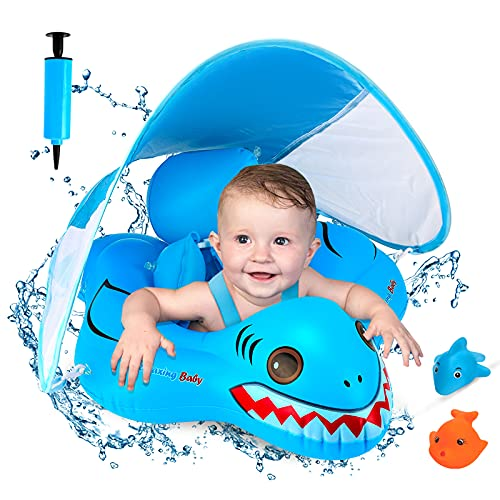 DUPOO Baby Pool Float Infant Pool Float, Baby Swim Float with SPF 50+ Sun Protection Canopy & Safe Bottom Support, Fun Gifts Baby Floats for Pool Toddler Baby Boy Girl Age of 3-36 Months