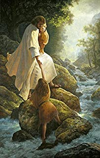 100% Genuine Real Hand Painted male portrait Christ Jesus with child and little girl by stream Canvas Oil Painting for Home Wall Art Decoration, Not a Print/ Giclee/ Poster