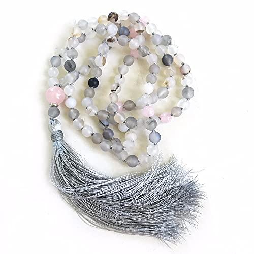 LUOBIN 108 Collar de Cuentas Viento Sombra Cuarzo Rosa Collar Anudado a Mano Collares de meditación Collares de Borla de oración de Yoga