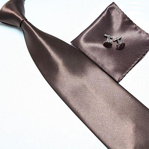 Cravate + Pochette + Bouton de Manchettes Satinée - Marron - Neuf