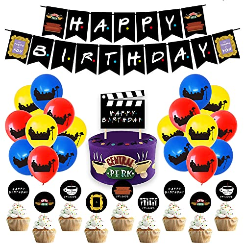 LUOWAN Friends TV Show Party Supplies, Friends Themed Birthday Decorations Incluing Happy Birthday Banner, Cake Topper, Cupcake Topper,Friends Party Balloons for Friends Theme Fans Party Favor Black