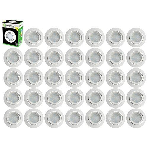 Lot de 35 Spot Led Encastrable Complete Blanc Orientable lumière Blanc Chaud eq. 50W ref.193