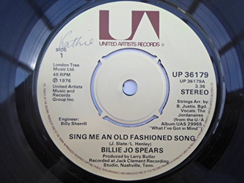 """Spears, Billie Jo Sing Me An Old Fashioned Song/Let's Try To Wake It Up Again 7"""" United Artists UP36179 EX 1976"""