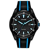 Citizen Men's Drive Stainless Steel Quartz Sport Watch with Silicone Strap, Black, 22 (Model: AW1605-09E)