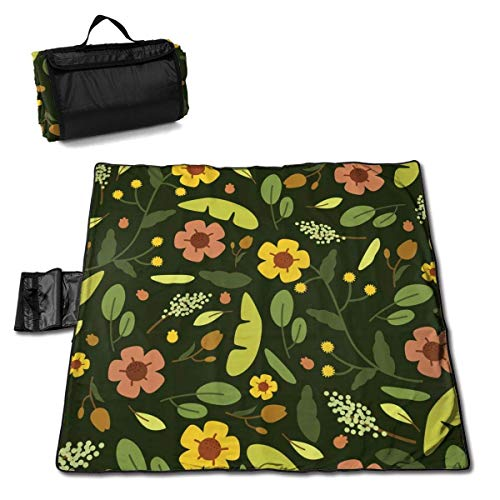 Tiffany Church Flower Background Picnic Blanket - Outdoor Picnic Blanket, Washable, Foldable, Waterproof Outdoor Mats for Picnic,Camping,Beach, Large Size 57 * 59in
