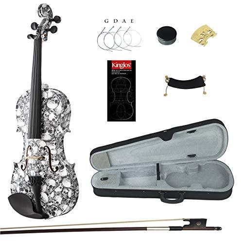 Kinglos 4/4 Bianco e Nero Colorato In Legno Massello Violino Kit Raccordi Ebano - HB1312