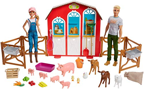 ?Barbie Sweet Orchard Farm Barn Playset with Barbie and Ken Dolls for 3 to 8 Year Olds