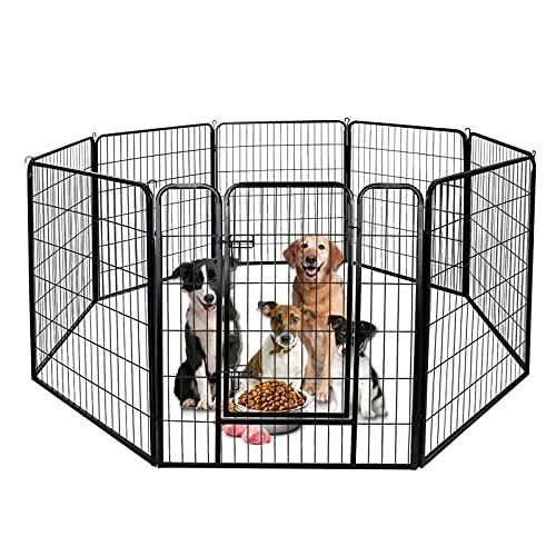 Froadp 8tlg Welpenauslauf Laufgitter Kaminschutzgitter Freilaufgehege Welpenzaun Gehege Kinder Sicherung Laufstall Zaun Gitter mit Tür für Kleintiere Nager Hunde(80x100cm)
