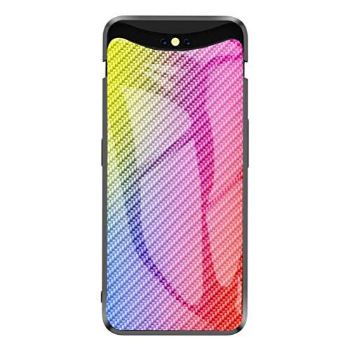 EUDTH Oppo Find X Hülle, Carbon Fiber Gehärtetes Glas Zurück Handyhülle Hard Case Stoßfeste Schutzhülle für Oppo Find X - Bunt