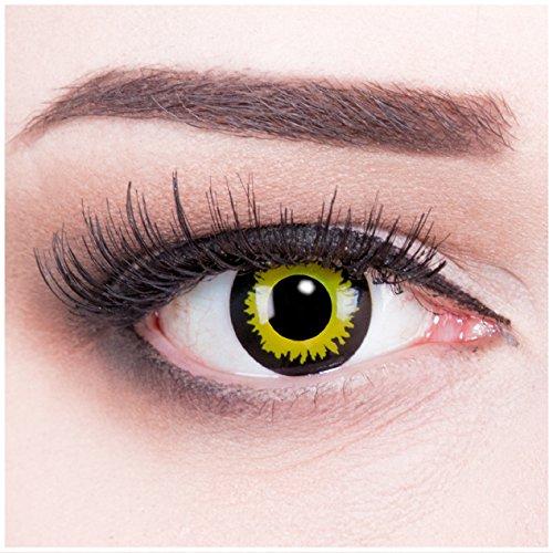 Farbige gelbe grüne Crazy Fun Kontaktlinsen ohne Stärke crazy contact lenses Eclipse 1 Paar perfekt zu Fasching, Karneval und Halloween. Mit gratis Linsenbehälter + 60ml Pflegemittel