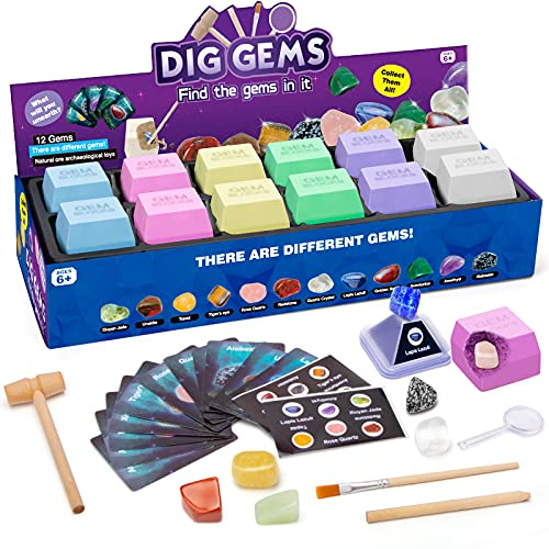 CIRO Gems Dig Science Experiments Kit, STEM Projects Educational Real Gemstones and Crystals Excavation Toys