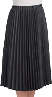 Classic Pleated Mid-Length Jersey Knit Midi Skirt with Comfortable Elastic Waistband