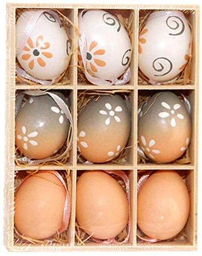 9 Pz/Scatola di Plastica Uova di Pasqua Ornamenti per Bambini Bambini Fai da Te Pittura Uova Giocattoli con Nastro Appeso Regali