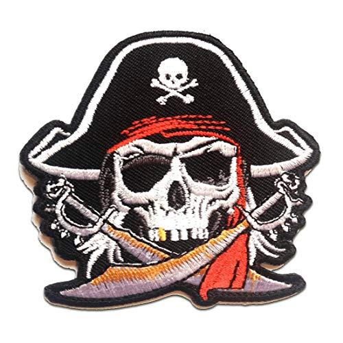 Parches - pirata calavera - blanco - 7x7.4cm - termoadhesivos bordados aplique para ropa