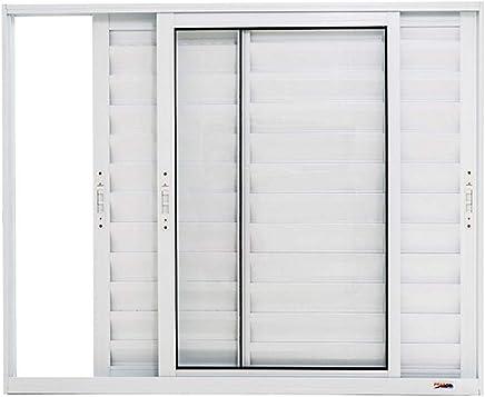 Janela Veneziana 3 Folhas Móveis em Alumínio 120 x 120 x 8,9 cm Branco Boldie Prado Alumínio