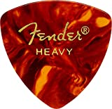 Fender 346 Shape Classic Celluloid Picks (12 Pack) for electric guitar, acoustic guitar, mandolin, and bass, 346 - Heavy, Multicolor (Tortoise Shell)