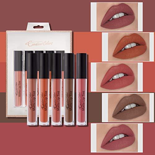 Mimore Líquido Pintalabios Traje,kit de maquillaje de Glaseado de labios aterciopelado de 5 colores Impermeable Duradero Brillo de labios Taza antiadherente Esmalte de labios Sexy Colors (01)