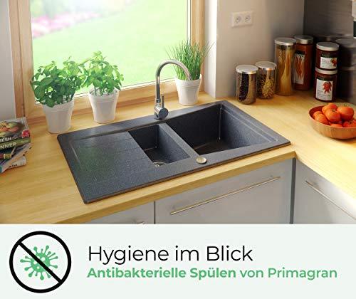 Granitspüle mit Siphon Madrid Einbauspüle Spülbecken Graphit Küchenspüle Unterschrank Küche ab 60cm Spüle aus Granit mit Ablaufgarnitur Drehexcenter und Überlauf von Primagran