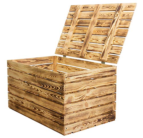 Vinterior Neue Holztruhe geflammt *groß* - Truhe Holzkiste Wäschetruhe Aufbewahrungskiste Obstkisten Kiste mit Deckel flambiert/flammbiert massiv85x55x46cm