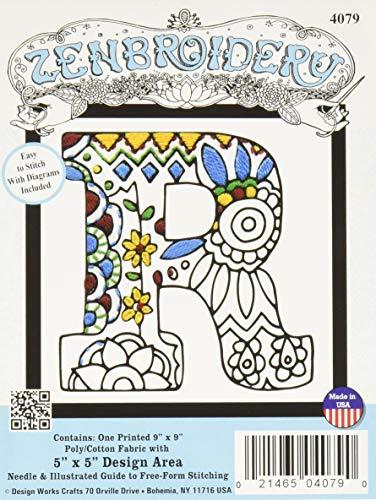Design Works Crafts Inc. Design Works Zenbroidery, Letter R, 5' x 5' Craft Kit, Various