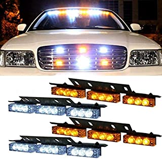 36x LED 3 Flashing Modes Vehicle Windshield Dash Deck Grille Strobe Flash Emergency Warning Strobe Light Bar For Truck, Law Enforcement, Police, Firefighter, EMS, Ambulance -1 pack (Yellow & white)