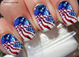 American Flag Nail Art Decals Full Wrap Set of 22