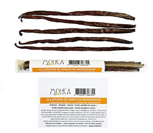 """15 g de vainilla """"Bourbon"""" - Vainas de vainilla de Madagascar (Vanilla planifolia): longitud 15-18cm, 2-4 g por vaina. 4 a 7 vainas de vainilla por tubo de vidrio."""