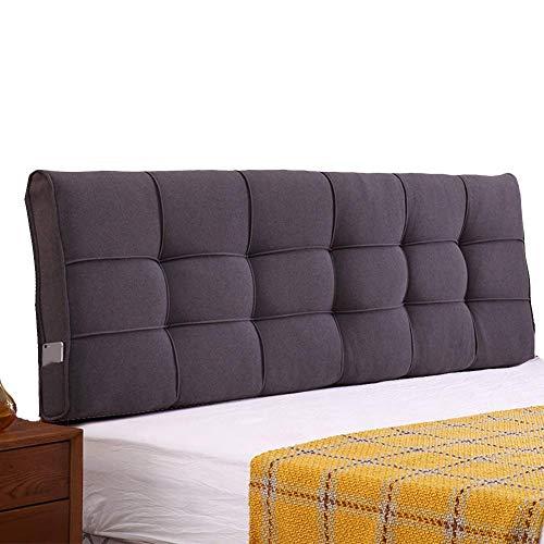 PENGFEI Bett Kopfteil Kissen Rückenlehne Wandkissen Taille Gepolstert Klettverschluss, Waschbar, 3 Farben, 8 Größen (Color : Dark Gray, Size : 140CM)
