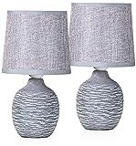 BRUBAKER Set de 2 Lámparas de Mesa o de Noche - 27 cm - Gris - Portalámparas de Cerámica con Estructura - Pantallas de Lino
