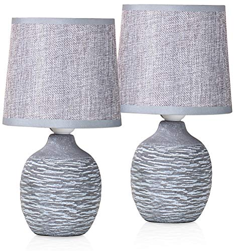 BRUBAKER 2er Set Tisch- oder Nachttischlampen - 27 cm - Grau - Keramik Lampenfüße mit Struktur - Leinen Schirme