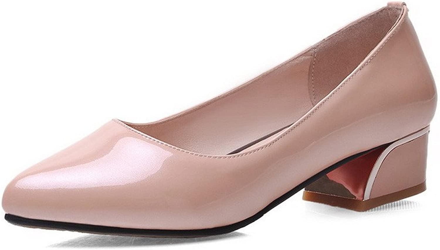 WeiPoot Women's Low-Heels Solid Pull-On Patent Leather Closed-Toe Pumps-shoes