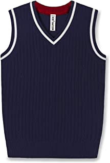 Kid Nation Sweater Vest School V-Neck Uniforms Cotton Cable Knit Pullover for Boys/Girls 3-12Y