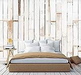 murimage Fototapete Holzoptik Vintage Weiß 3D 274 x 254cm Tapete inklusive Kleister Natur Bambus Schlafzimmer