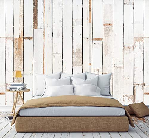Murimage fotobehang houtlook vintage wit 3D 274 x 254cm behang inclusief behanglijm natuur bamboe slaapkamer