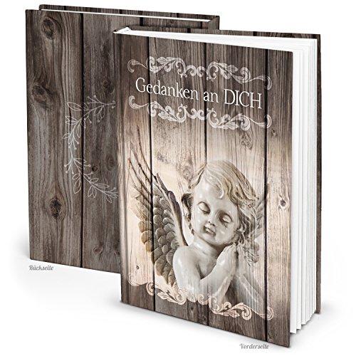 Kleines Trauerbuch Notizbuch Tagebuch GEDANKEN AN DICH - ENGEL SCHUTZENGEL DIN A5 Trauer bewältigen Trauerbuch vintage Geschenk Geburtstag Weihnachten Nostalgie