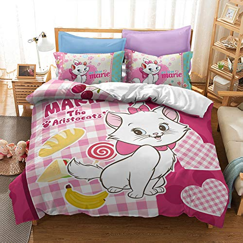 Meiju Microfiber Duvet Cover Set for Girls, Lovely Kitten with Pink Bow Printing Single Double King Size Bedding Set Easy Care Children Quilt Covers and Pillowcases (180x210cm,Marie Cat F)