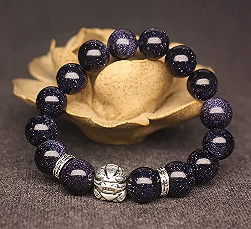 Pulseras con cuentas de piedras preciosas premium Feng shui riqueza pixiu pulsera de plata pura arenisca azul piyao tibetano antiguo plata pulsera patrón grano gemstone chakra curación elástico encant