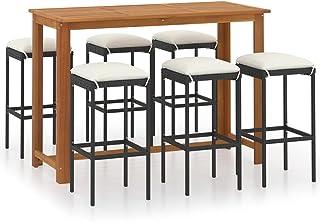 vidaXL Ensemble de Bar de Jardin avec Coussins 7 pcs Mobilier de Patio Salon de Jardin Table et Tabourets de Bistrot Extér...