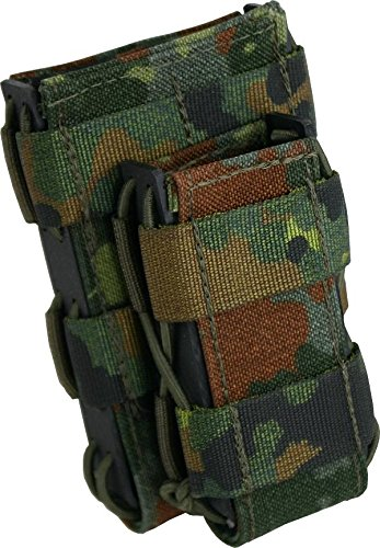 Zentauron Molle Magazin Schnellziehtasche M4 DUO 8,5 x 15 x 3,5 I Schnellziehtasche für Magazin aus hochwertigem Cordura® & Kydex® I Strapazierfähige Militär-Tasche I Tasche in Flecktarn