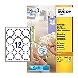 Avery L3416 (diametro 60 mm), 1200 etichette rotonde (100 fogli x 12), colore: Bianco