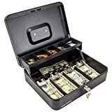 Black Steel Cash Box with Safe Key Lock   Tiered Money Coin Tray and Bill Slots   Portable and Compact   4 Keys   Metal Lockable Storage Box for Change, Petty Cash, Fundraiser, Garage Sale