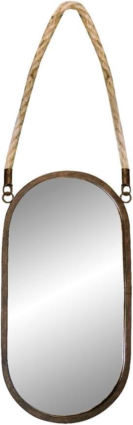 Max 52% OFF Li@ American Vintage Wrought Iron New York Mall Rope Wall Mirror Hanging Hemp