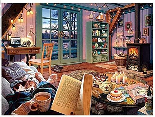 Niña y perro leyendo en el sofá-Pintar por Numeros Adultos Niños DIY Pintura por Números con Pinceles y Pinturas Decoraciones Pinturas para el Hogar - 40X50CM