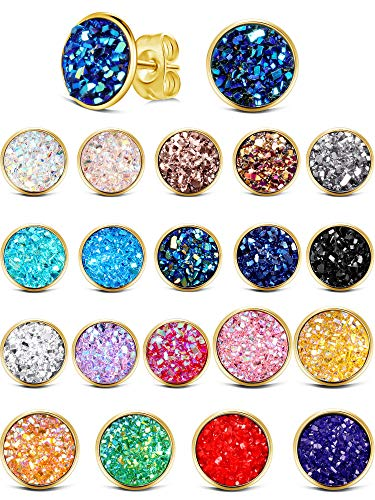 20 Pairs Round Stud Earrings Stainless Steel Druzy Studs Earrings Set Anti-sensitive Fits Women Girls, 8 mm and 12 mm (Golden)