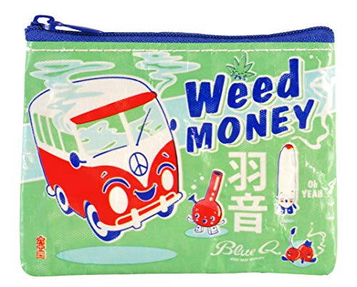 """Blue Q Coin Purse, Weed Money. Made from 95% recycled material, the ultimate little zipper bag to corral money, ear buds, gift cards, stamps, vitamins, coins. 3""""h x 4""""w."""
