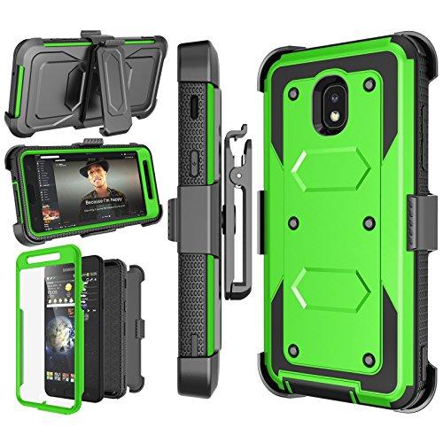 Njjex Galaxy J7 Refine Case, for Samsung J7 2018/J7 Star/J7 V 2nd/J7 Aura/J7 Top/J7 Crown/J7 Eon/J7 Aero Case, [Nbeck] Built-in Screen Protector Swivel Holster Belt Clip Kickstand Phone Cover - Green