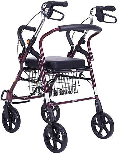 YGB Zusammenklappbarer Einkaufswagen Old Man Trolley kann einen zusammenklappbaren Rollstuhl aufnehmen. Einkaufskorb Tragbares Walker-Geschenk kann 120 kg tragen