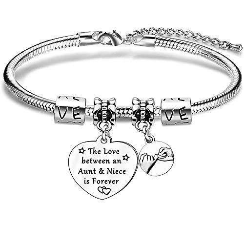 Aunt Niece Bracelet,Aunt Niece Gift,Silver Charm Snake Bracelet for Women Girls Birthday Gift Present
