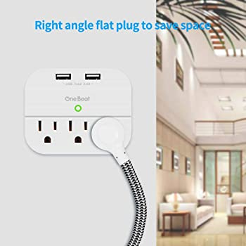 Desktop Power Strip with 3 Outlet 4 USB Ports 4.5A, Flat Plug and 5 ft Long Braided Extension Cords for Cruise Ship T...