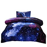 JQinHome Twin Galaxy Comforter Sets Blanket, 3D Outer Space Themed Bedding, All-Season Reversible Quilted Duvet, for Children Boy Girl Teen Kids - Includes 1 Comforter, 1 Pillow Sham (Dark Blue)